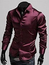 MAIDU Men's Imitation Silk Smooth Leisure Long-sleeved Shirts