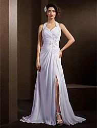 Lanting A-line Wedding Dress - White Court Train Halter Chiffon