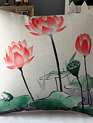 Chinese Painting Lotus & Leaves Patterned Cotton/Linen Decorative Pillow Cover