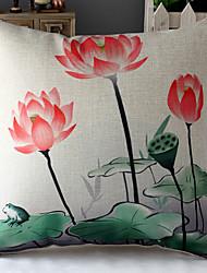 lotus pintura chinesa&deixa modelado algodão / linho cobertura decorativa travesseiro