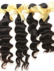 Indian Virgin Human Hair Weav Extens Loos Wave 6A Cheap Human Hair Natur Black Hair 4pcs Wholesal Human Hair Weave