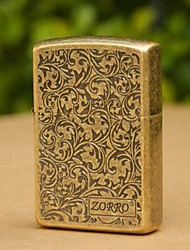 ZORRO Etching BRASS Oil Lighters Without Oil
