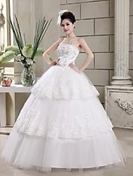 Ball Gown Strapless Floor-length Wedding Dress (Tulle)