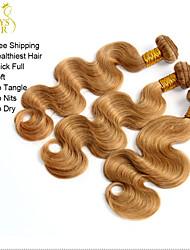 """3 Pcs Lot 14""""-28"""" Brazilian Virgin Hair Body Wave Wavy Honey Blonde Remy Human Hair Weave Bundles Shedding Tangle Free"""