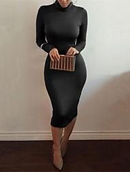 Women's Sexy Inelastic Long Sleeve Knee-Length Dress (Cotton Blends)