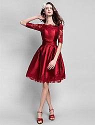 TS Couture® Cocktail Party Dress Plus Size / Petite Ball Gown Bateau Knee-length Satin with Appliques / Sash / Ribbon / Ruching