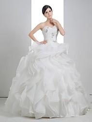 Ball Gown Wedding Dress - White Court Train Strapless Linen/Satin