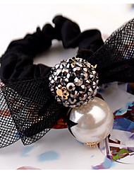 Fashion Rhinestone Pearl Bow Lace Hair Ties