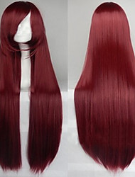 Cosplay Hot Models High-quality Synthetic Wig 80cm High Temperature Wire Straight Hair  Deep Rad Long Straight Hair