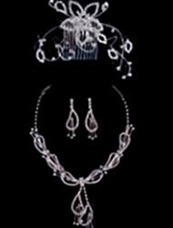Fashion Alloy Wedding/Party Jewelry Set With Rhinestone