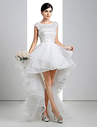 A-line Wedding Dress - White Asymmetrical Scoop Lace/Linen/Tulle