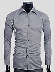 Men's Long Sleeve Shirt , Cotton/Others Casual/Work/Formal Pure