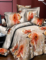 Shuian® Duvet Cover Set,3D 4pcs Flower Bedding Set Duvet Cover Bed Sheet Bedclothes Home Textile Flat Sheet