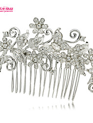 Neoglory Jewelry Flower Leaves and Butterfly Clear Rhinestone Hair Comb for Lady's/Pageant/Daily