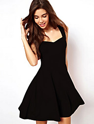 Women's Vintage/Sexy/Casual/Party Micro-elastic Sleeveless Above Knee Dress (Chiffon)