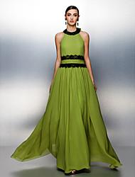 Formeller Abend Kleid - Grün Chiffon - A-Linie - bodenlang - Juwel-Ausschnitt
