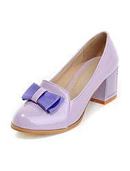 Women's Shoes Round Toe Chunky Heel Patent Leather Pumps Shoes More Colors available