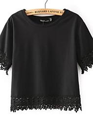 Kurz - Dünn - Leger/Spitze - T-shirt (Spitzen/Polyester/Baumwollmischung)