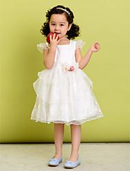 A-line Square Knee-length Polyester Flower Girl Dress
