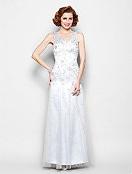 Sheath/Column Plus Sizes / Petite Mother of the Bride Dress - Silver Floor-length Sleeveless Lace / Tulle