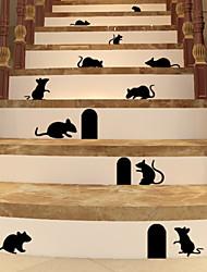 muurstickers muur stickers, zwarte muis pvc muurstickers