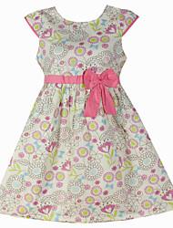 Girl's Floral Sundress Belt Party Princess Kids Clothing Summer/Spring Dresses (100% Cotton)