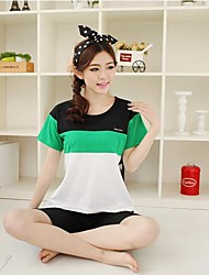 Women's Knitted Cotton Black Green And White Short Sleeve Shorts And Comfortable Leisure Wear Suits