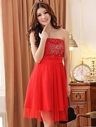 Knee-length Chiffon / Polyester Bridesmaid Dress A-line / Princess Strapless