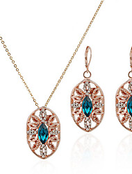 Patina Bright Pierced Alloy With Rhinestone Ladies Necklace and Earrings Jewelry Set