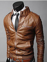 D2P Men's Fashion Fashion Causal Slim Stand Collar Short Type Leather Clothing