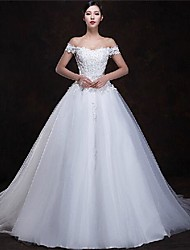 A-line Floor-length Wedding Dress -Off-the-shoulder Tulle