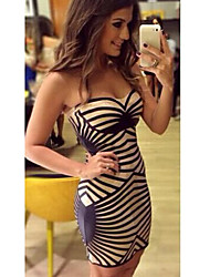 Jimi Women's European Fashion Stripes Strapless Dress