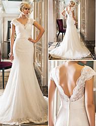 Vestido de Noiva - Marfim Sereia Rainha Anne Cauda Corte Renda/Cetim Elástico