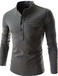 first brand Men's Stand T-Shirts , Cotton Blend Long Sleeve Casual