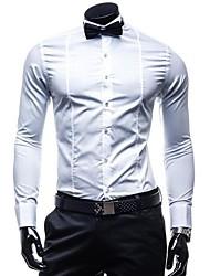 Men's Long Sleeve Shirt , Cotton Casual/Formal Pure