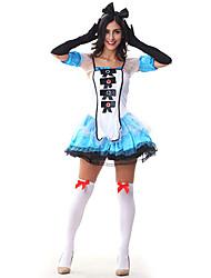 Costumes de Cosplay Costume de Soirée Princesse Conte de Fée Fête / Célébration Déguisement d'Halloween Bleu Mosaïque Robe Casque Gants