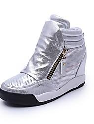Scarpe Donna - Sneakers alla moda - Casual - Punta arrotondata - Basso - Finta pelle - Nero / Grigio