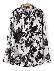 Women's Casual China Ink Print Long Length Shirt