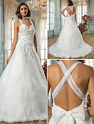 A-line/Princess Plus Sizes Wedding Dress - Ivory Sweep/Brush Train Straps Organza