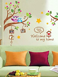 Wall Stickers Wall Decals, Cartoon Owls Tree PVC Wall Stickers