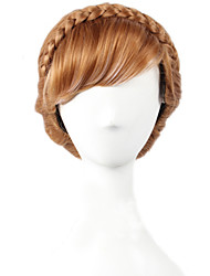 Angelaicos Women Queen Princess Anna Brown Updo Braid Girls Short Brown Halloween Costume  Party Cosplay Wigs