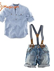 Boy's Long Sleeve (Adjust) Turn-down Collar Stripe Shirts + Suspender Denim Pants Jeans (Cotton + Denim)