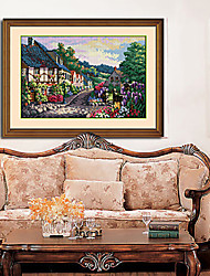 Cartoon Town Hobbies And Crafts Architecture Diamond Cross Stitch Needlework Wall Home Decor 41*59cm
