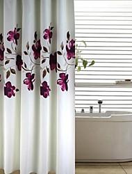 Modern Ink Purple Floral Peach Finish Shower Curtain