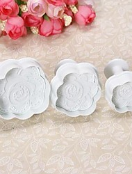 The new 3PCS Rose Fondant Printed Spring Die Baking mold