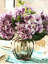 cinco hygrangeas roxo artificial flores com vaso cinza