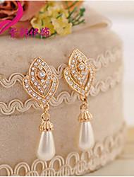 Full diamond hearts Pearl Pendant Earrings E451