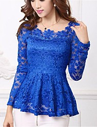 Women's Lace Plus Sizes Micro-elastic Falbala Hem Long Sleeve  Blouse (Lace)
