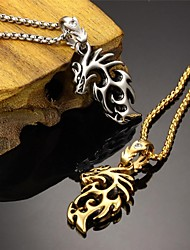 Super Cool Rock Character Chinese Dragon Zirconium Drill Stainless Steel Plating 18 K Gold Man Necklace