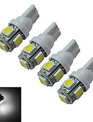 JIAWEN® 4pcs T10 1W 5X5050SMD 70-90LM 6000-6500K Cool White  LED Car Light (DC 12V)